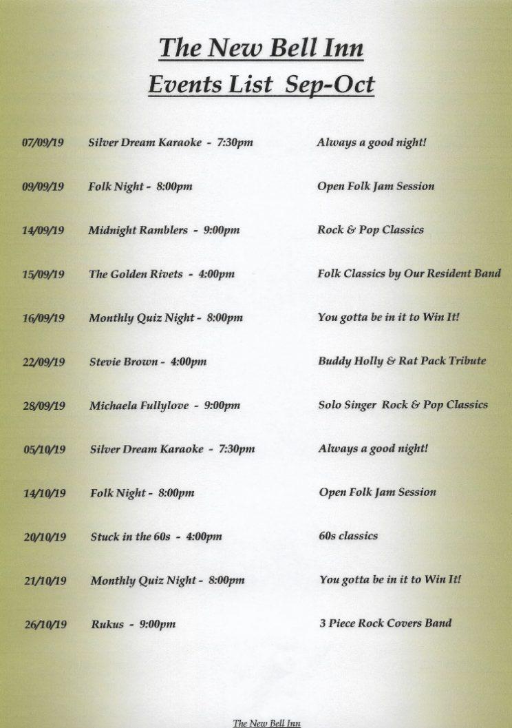 Events list September & October